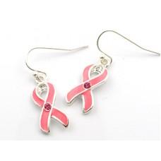 Pink Ribbon Enamel Wire Earrings