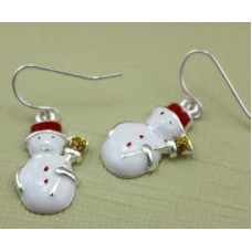 Enamel Snowman Earrings - Silver