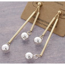 2 Tone - Gold Bar Dangle With Silver Ball Accent Post Earrings
