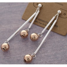 2 Tone - Silver Bar Dangle With Rose Gold Ball Accent Post Earrings