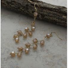 Brown Crystal Drop Gold Wire Earrings