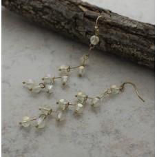 Cream Crystal Drop Gold Wire Earrings
