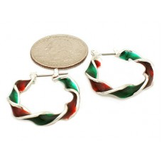 25mm Red and Green Twist Holiday Hoops in Silver