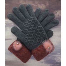 Women's Knit Gloves With Fur Accent - Gray