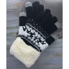 Women's Reindeer Touch Screen Knit Gloves With Sherpa  Cuff - Black