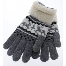 Women's Reindeer Touch Screen Knit Gloves With Sherpa  Cuff - Gray