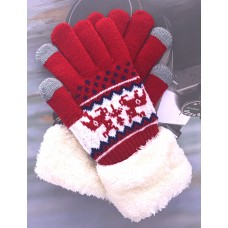 Women's Reindeer Touch Screen Knit Gloves With Sherpa  Cuff - Red