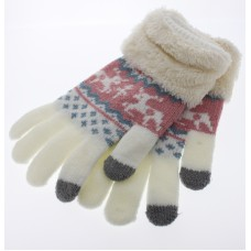 Women's Reindeer Touch Screen Knit Gloves With Sherpa  Cuff - White