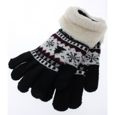 Women's Tree and Snowflake Knit Gloves With Sherpa Cuff - Black
