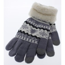 Women's Tree and Snowflake Knit Gloves With Sherpa Cuff - Gray
