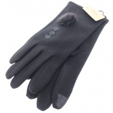 Women's Fitted Touch Screen Gloves With Lace and Fur Accents - Black