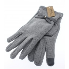 Women's Fitted Touch Screen Gloves With Bow - Light Gray