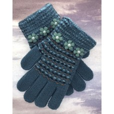 Kids Teal and Stripe Knit Gloves With Flower Accents