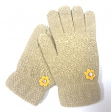 Kid's Beige Knit Gloves With Flower and Rhinestone Accents