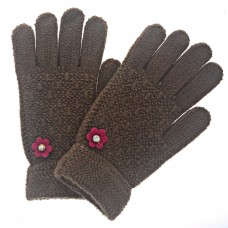 Kid's Brown Knit Gloves With Flower and Rhinestone Accents