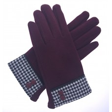 Women's Burgundy Fitted Gloves with Houndstooth Button Cuff