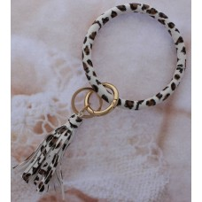 Key Ring Bracelet - White Animal Print