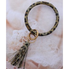 Key Ring Bracelet - Light Brown Animal Print