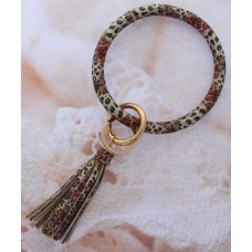 Key Ring Bracelet - Multi Color Leopard Print