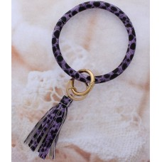 Key Ring Bracelet - Lavender Animal Print