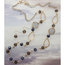 Amber And Black Crystal Cut Beaded Gold Necklace Set With Circle Scroll And Teardrop Accents