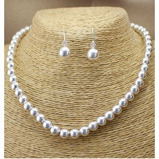 Silver Bead Ball Necklace And Earring Set
