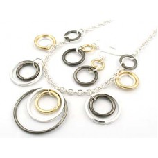 Tri-Tone Graduated Circle Pendant Necklace Set With Earrings