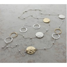 "34"" Two-tone Round Disc Necklace Set with Earrings"
