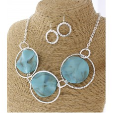 "18"" Triple Circle with Turquoise Stone Accent Necklace Set with Earrings"
