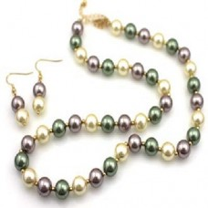 Single Strand Tri-Color Simulated Pearl Necklace Set With Earrings