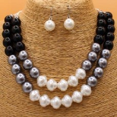 Double Strand Colorblock Simulated Pearl Necklace Set With Earrings