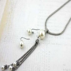 Silver Popcorn Chain And Simulated Pearl Pendant With Accent Tassle Necklace And Earring Set