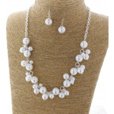 White Simulated Dangle Pearls Necklace Set With Earrings