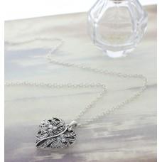 Silver Marcasite Filigree Heart Open Charm on a Silver Chain