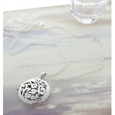 Silver Hammered Circle Open Charm with Scroll Design Necklace