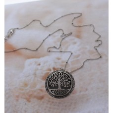 Tree of Life Silver Open Charm on a Silver Beaded Chain