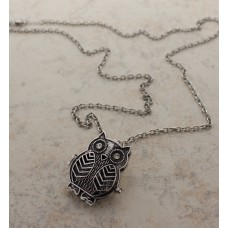 Silver Owl Open Charm on a Silver Chain