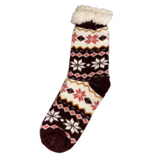 Women's Snowflake Slipper Socks - Burgundy