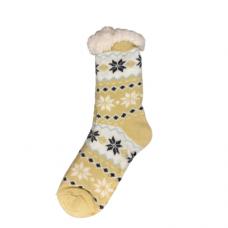 Women's Snowflake Slipper Socks - Light Yellow