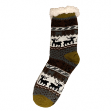 Women's Reindeer and Tree  Slipper Socks - Brown