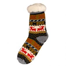 Women's Reindeer and Tree  Slipper Socks - Gold