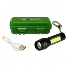 Waterproof USB Rechargeable LED Flashlight with Case