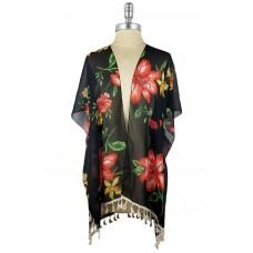 Floral Kimono with Tassels - Black