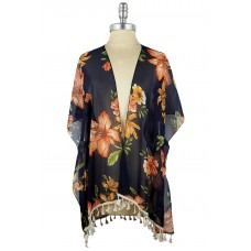 Floral Kimono with Tassels - Navy