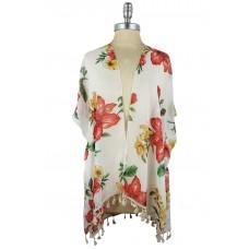 Floral Kimono with Tassels - White
