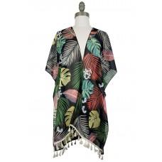 Tropical Kimono with Tassels - Black