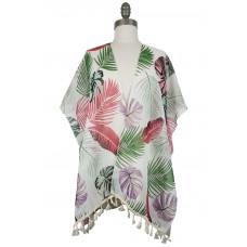 Tropical Kimono with Tassels - White