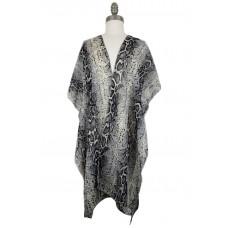 Snake Print Chiffon Kimono - Black