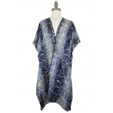 Snake Print Chiffon Kimono - Blue