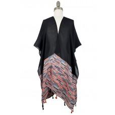 Abstract Boho Kimono with Tassels - Black